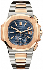 Часы Patek Philippe Nautilus Chronograph Steel and Rose Gold Blue Dial 5980/1AR