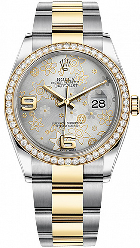 Часы Rolex Oyster Perpetual Datejust 36 mm Factory Diamonds 116243 silver floral dial